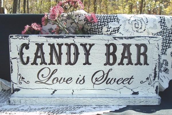 candy bar wedding sign