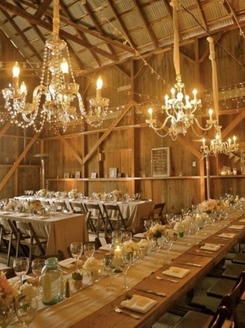 chandelier in the barn